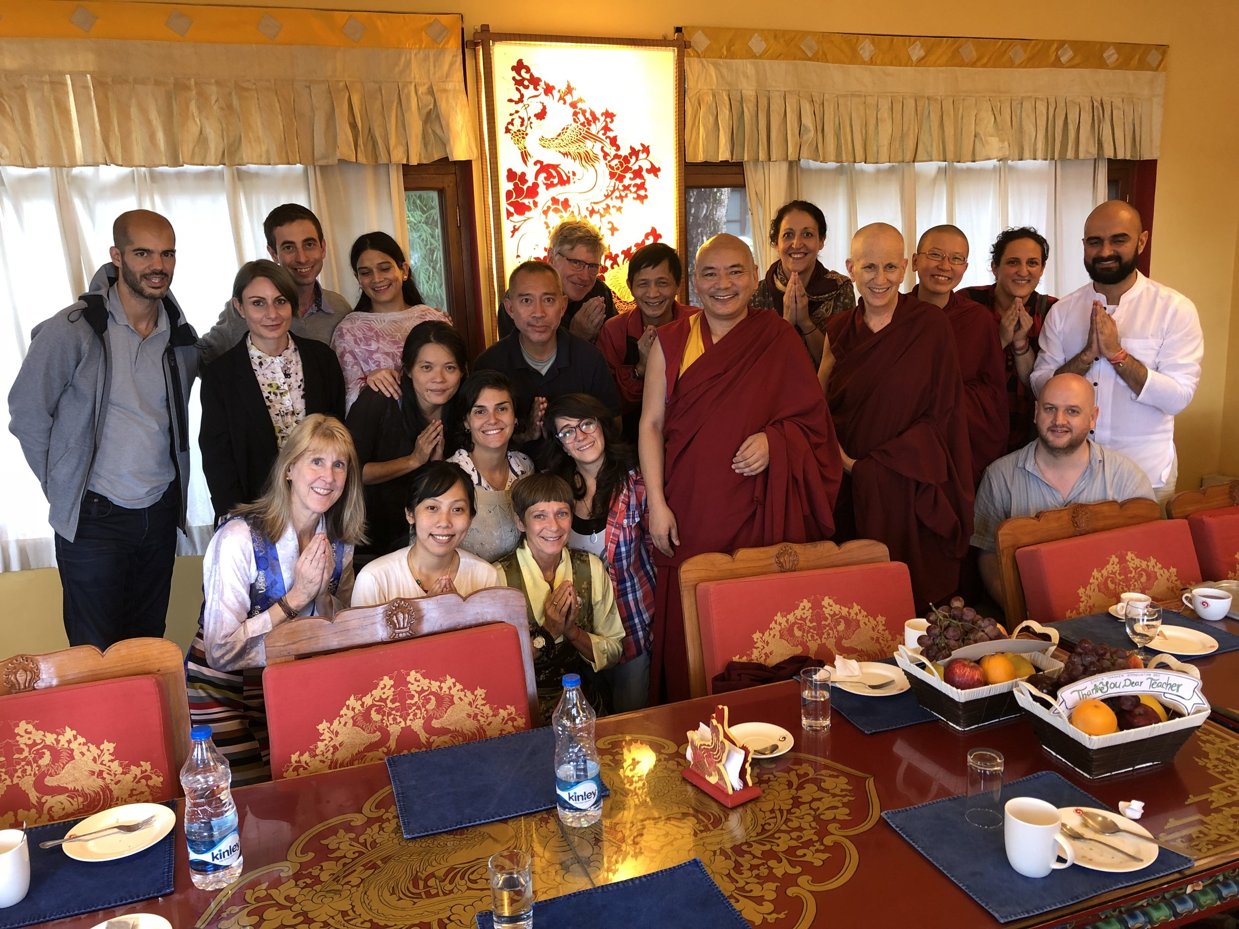 Dharma Family: Luncheon offering for the teachers, Choegyal Rinpoche and Thubten Chödrön after HH Dalai Lama's teaching. From the Himalayan outpost of Mcleod Ganj, Dharamsala. Russ in the back, visiting
