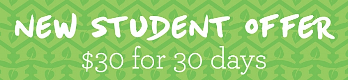 If you are a new student at Greenhouse Yoga studio you can take advantage of this offer of 30 days unlimited yoga for $30. This is a great way to try all the classes and find your perfect fit.