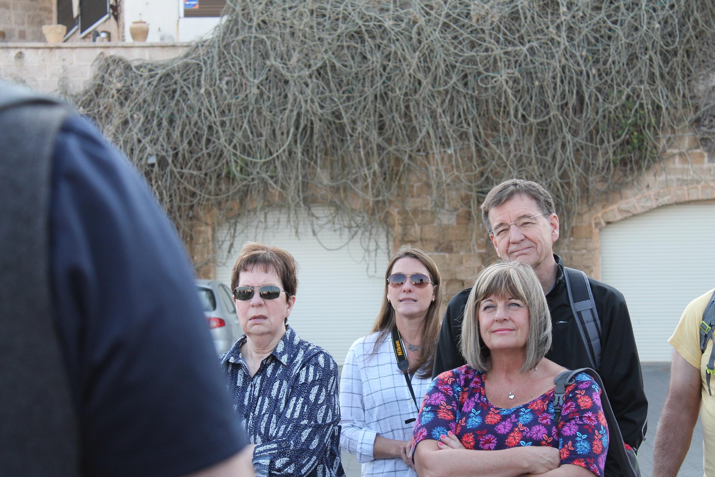 Listening to Ken Wilmot explain the history of Joppa (modern Jaffa).
