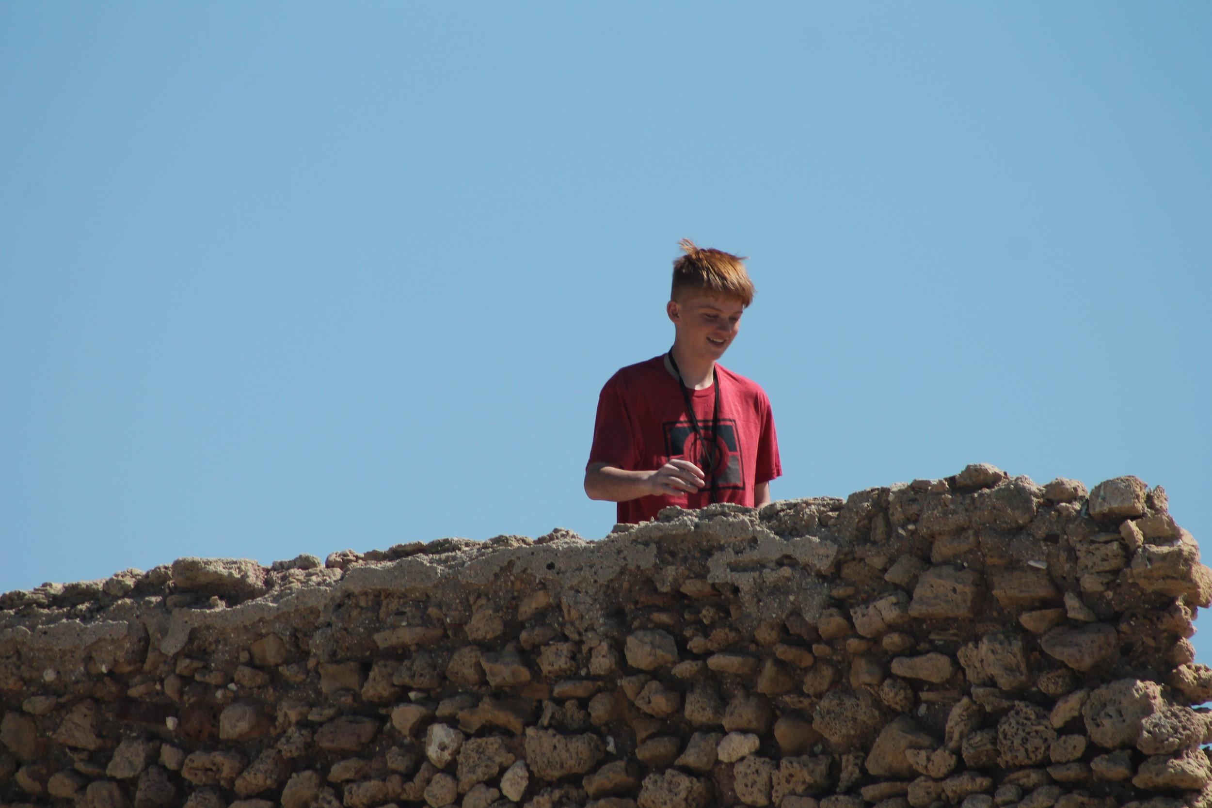 My nephew Austin atop Herod's aqueduct.
