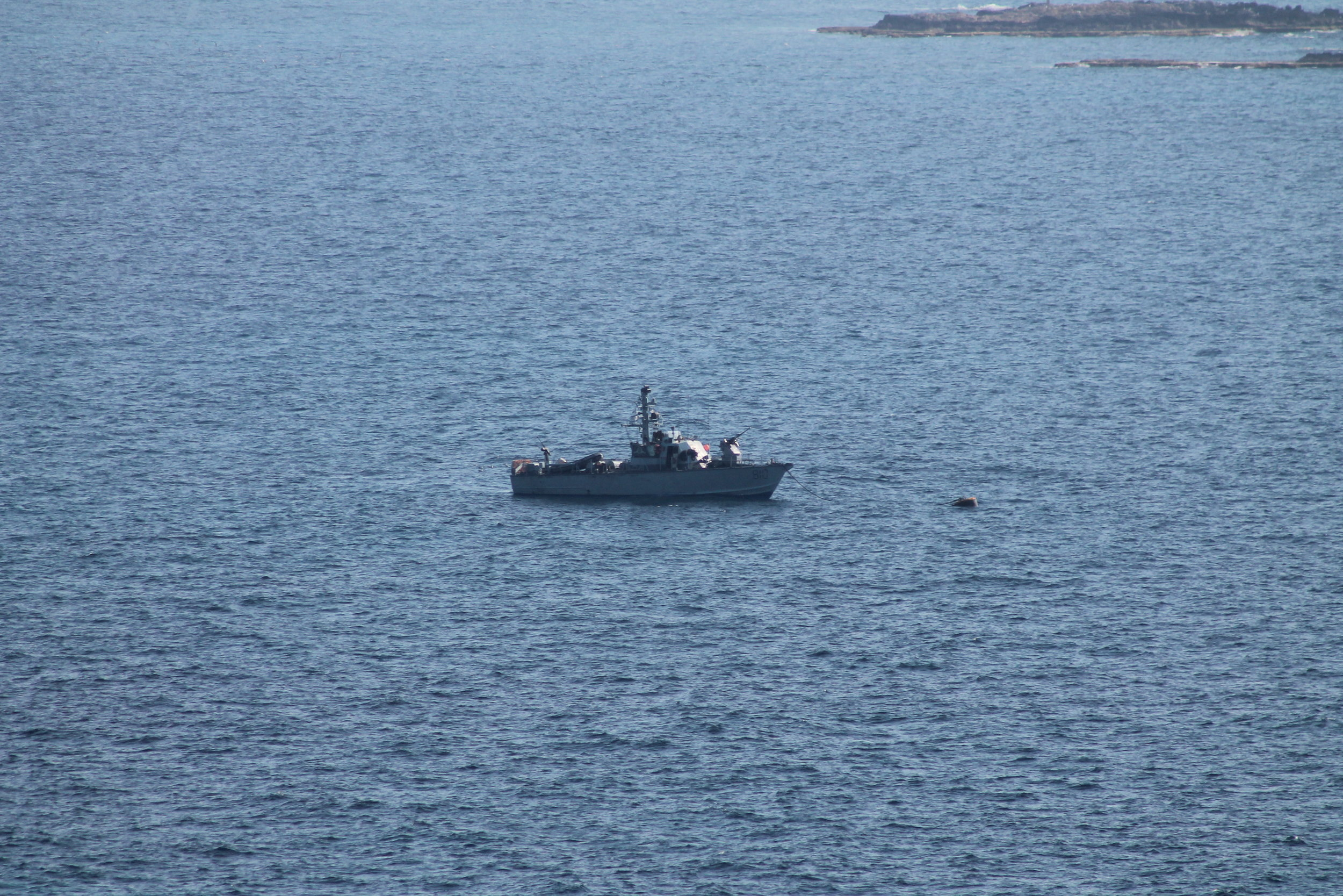 An Israeli warship keeping watch over the border with Lebanon.