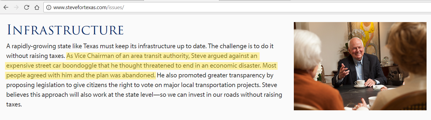 Screenshot from Steve Allison's campaign website, taken on January 24, 2018. Website falsely claims that Mr. Allison argued against the Street car and worked to stop the project.