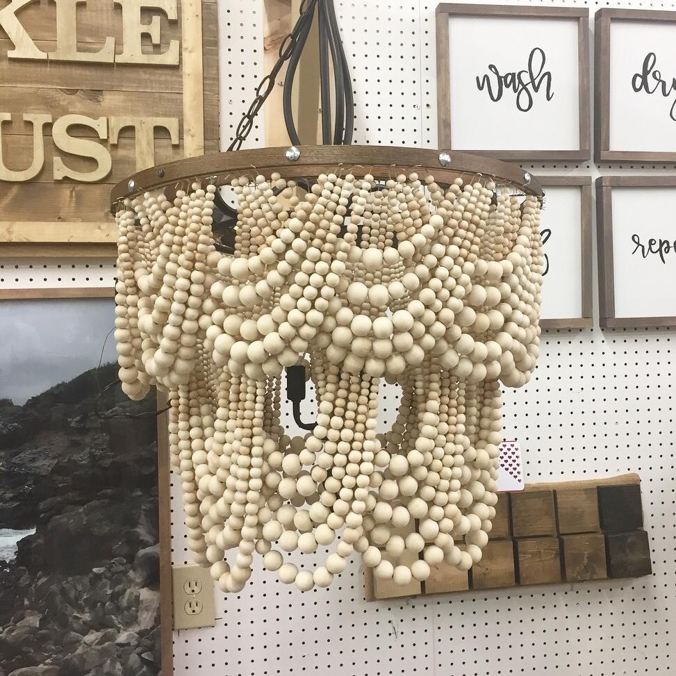 Wooden beaded chandelier.JPG