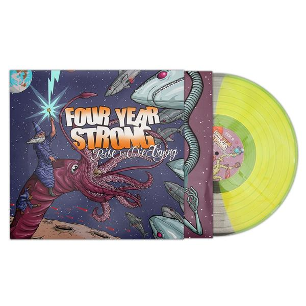 "The last vinyl pressing of Four Year Strong's ""Rise or Die Trying"" flew off the shelf so fast (you can still find some in stores), we decided to press another 500 copies. Get your hands on the half clear/half highlighter yellow  in our webstore . We've loved watching you grow after all these years. Happy 7th birthday RODT (yesterday)!"
