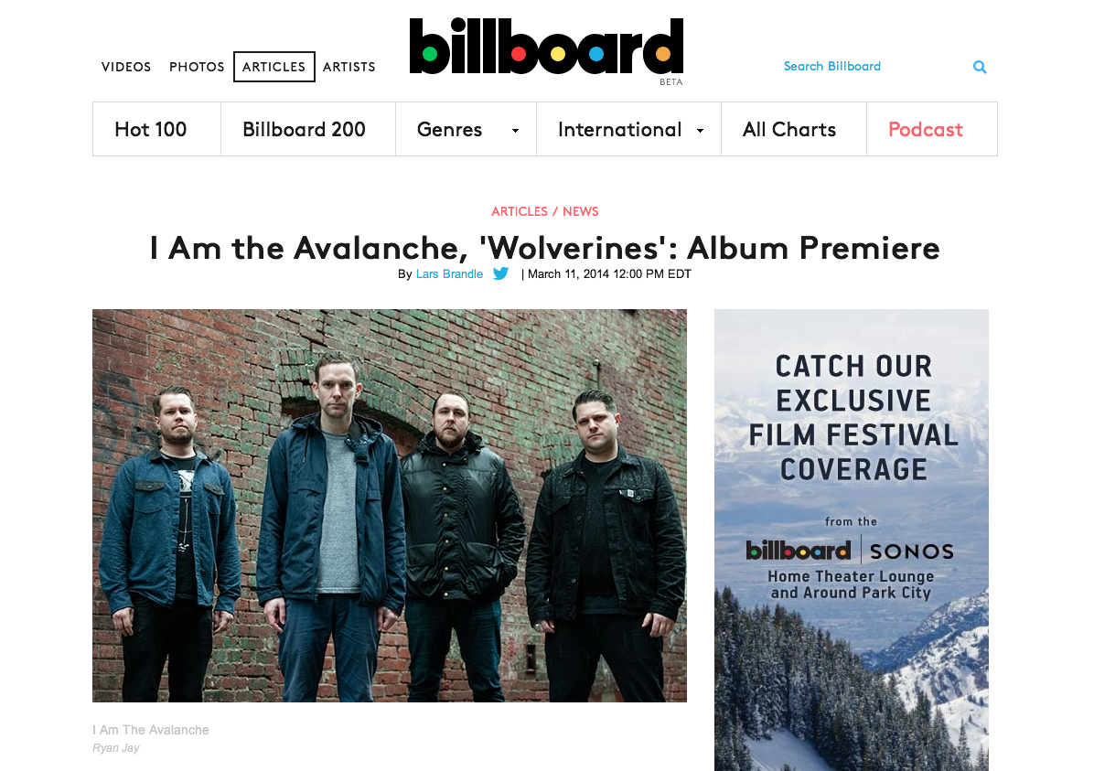 "HEY YOU, pay attention! I Am the Avalanche's album  Wolverines  comes out in 1 week (holy shit!!)… lucky for you, you can stream it now on  Billboard .    Wolverines  out March 18th. Pre-order  on iTunes  for $7.99 and get an instant download of ""The Shape I'm In"" and ""Two Runaways""    If you're in the UK, Europe, Australia, New Zealand grab a copy from  Rude Records  and if you're in Japan pick it up from  Ice Grill$"