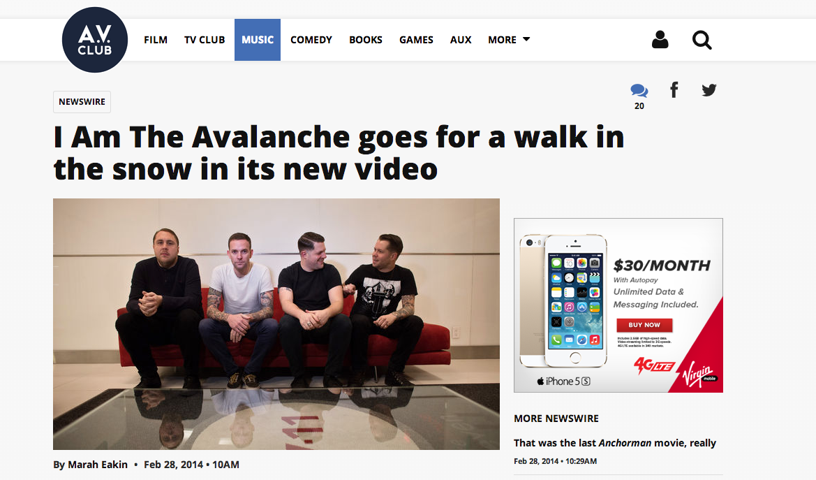 """TGIF, amirite? The  A.V. Club  is premiering the new I Am the Avalanche video for """"The Shape I'm In"""".  Watch it in all of its glory ."""
