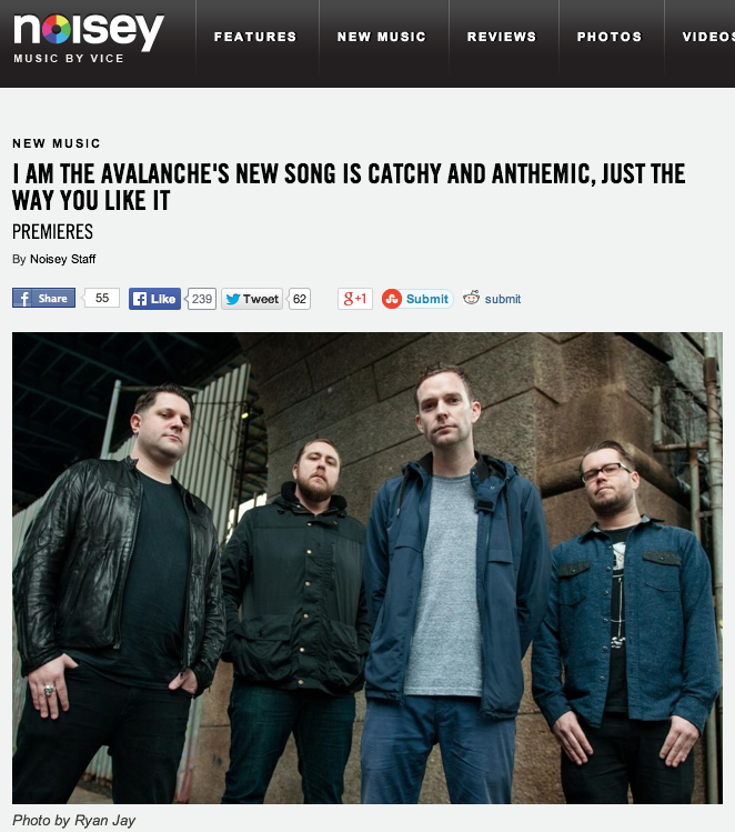"""I Am The Avlanche's new song is catchy and anthemic, just the way you like it…""     Noisey  isn't lying, listen to ""Two Runaways"" the latest from the band's new album  Wolverines   exclusively on their site .    Wolverines  out March 18th. Pre-order the  CD/vinyl bundles  or on  iTunes .   If you're in the UK, Europe, Australia, New Zealand grab a copy from  Rude Records , and if you're in Japan pick it up from  Ice Grill$ ."