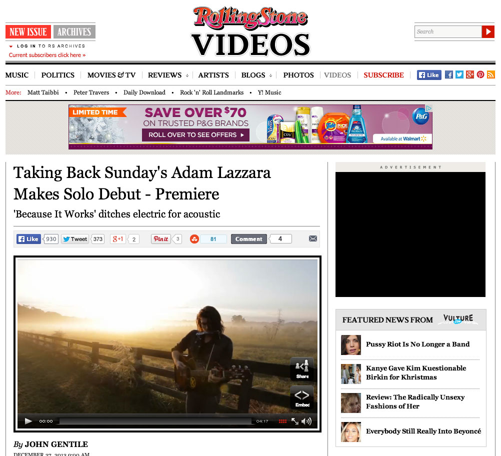"""Here's a little post holiday blues pick me up. Watch Adam Lazzara's music video for """"Because It Works"""" premiering now on  Rolling Stone .   Have some gift cards burning holes in your pocket? Pick up a copy of 'Our Voices' - download it on  iTunes ,  Amazon , or grab a copy in our  webstore ."""