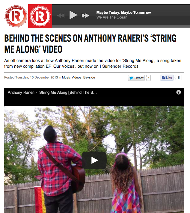 "Rock Sound posted the behind the scenes video for Anthony Raneri's ""String Me Along"" video,  check it !"