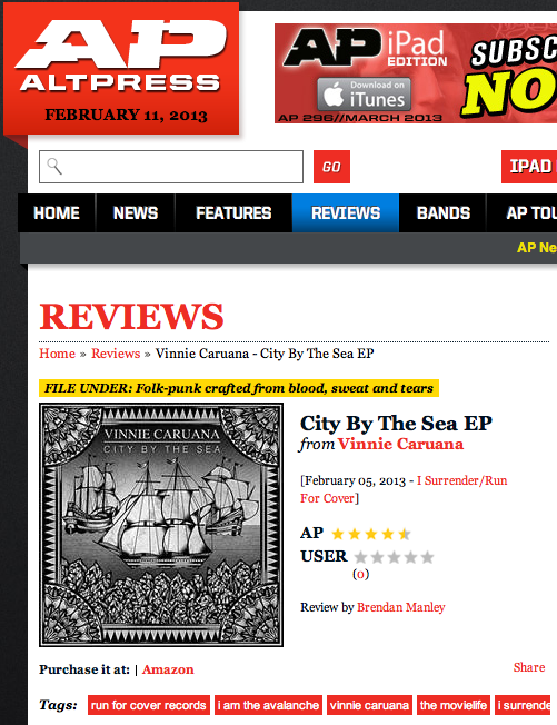 """Alternative Press gave Vinnie Caruana's new EP """"City By The Sea"""" a 4.5/5,  read the review here . Have you downloaded your copy off  iTunes  yet?!"""