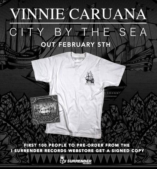 "pssst first 100 people who pre-order Vinnie Caruana's  City By The Sea  from the  I Surrender webstore  will get their copy of the EP signed!    Listen to ""Somehow The World Keeps Turning"" on  YouTube ."