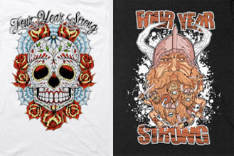 Four Year Strong has some new merch now available in the  I Surrender webstore  ! Check out these two new designs, marvel in their greatness and get yours today!