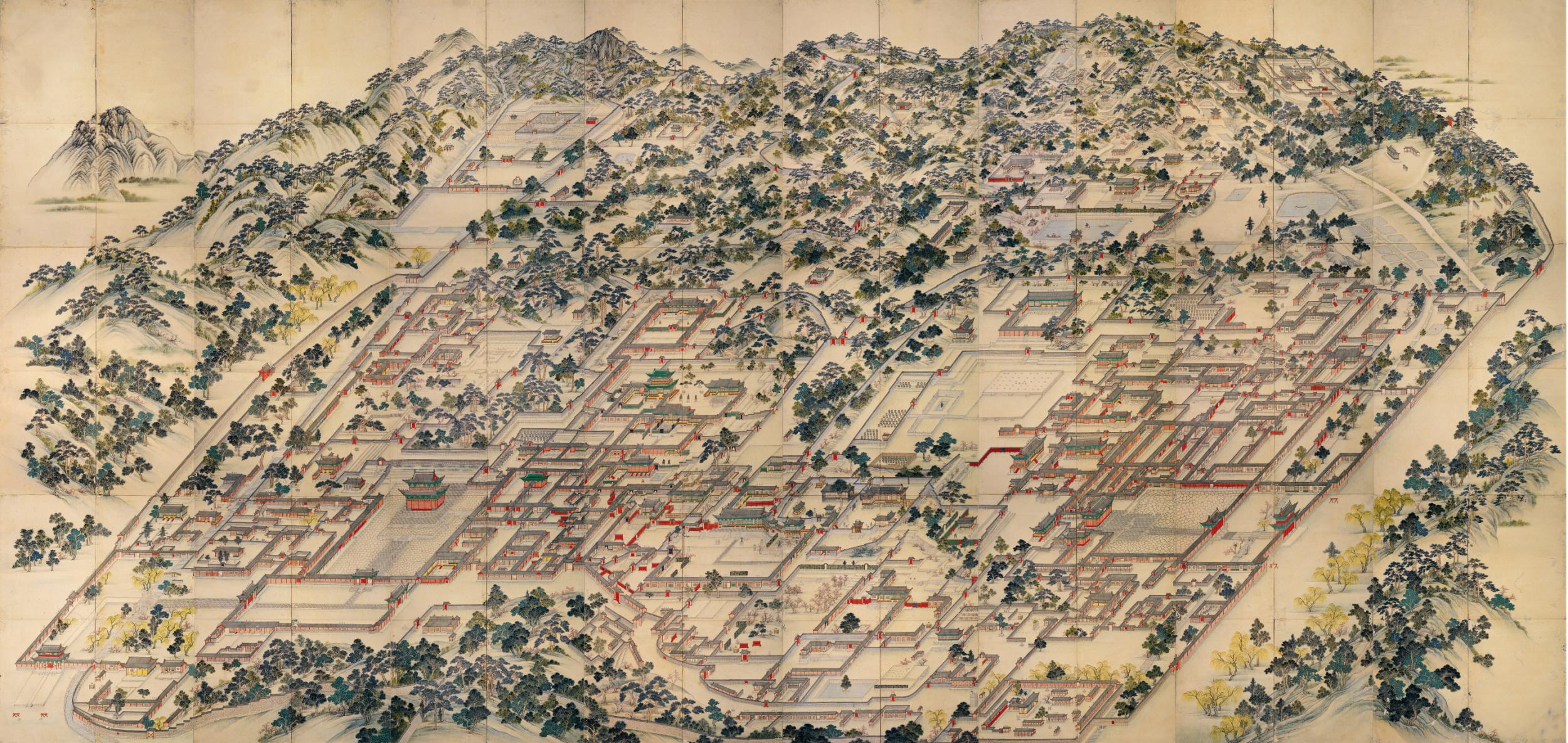 Depiction of Changdeokgung and Changgyeonggung palaces, circa 1830.