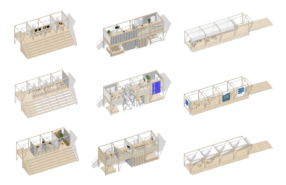 Office/Commons Porch, Workshop/Commons, and Front porches, in different configurations