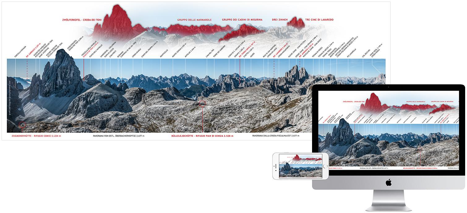 Panorama dalla Croda Fiscalina - Dolomiti di Sesto - Committente Rifugio Pian di Cengia