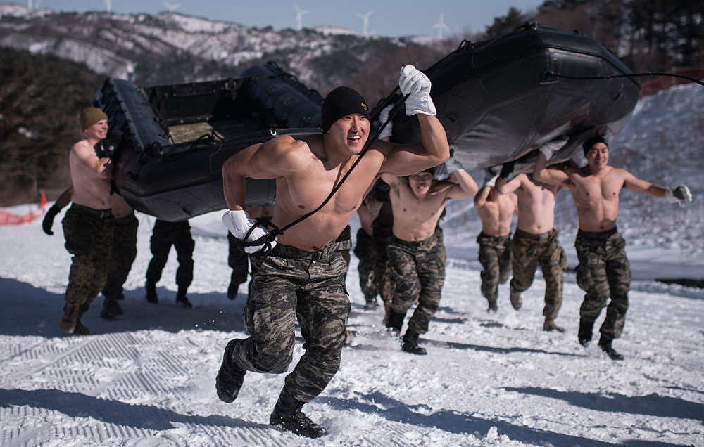 Shirtless Marines Hold Merciless Snow Training Session In Sub-Zero Temps - They teamed with South Korean soldiers to hone their hand-to-hand combat, marksmanship, and more