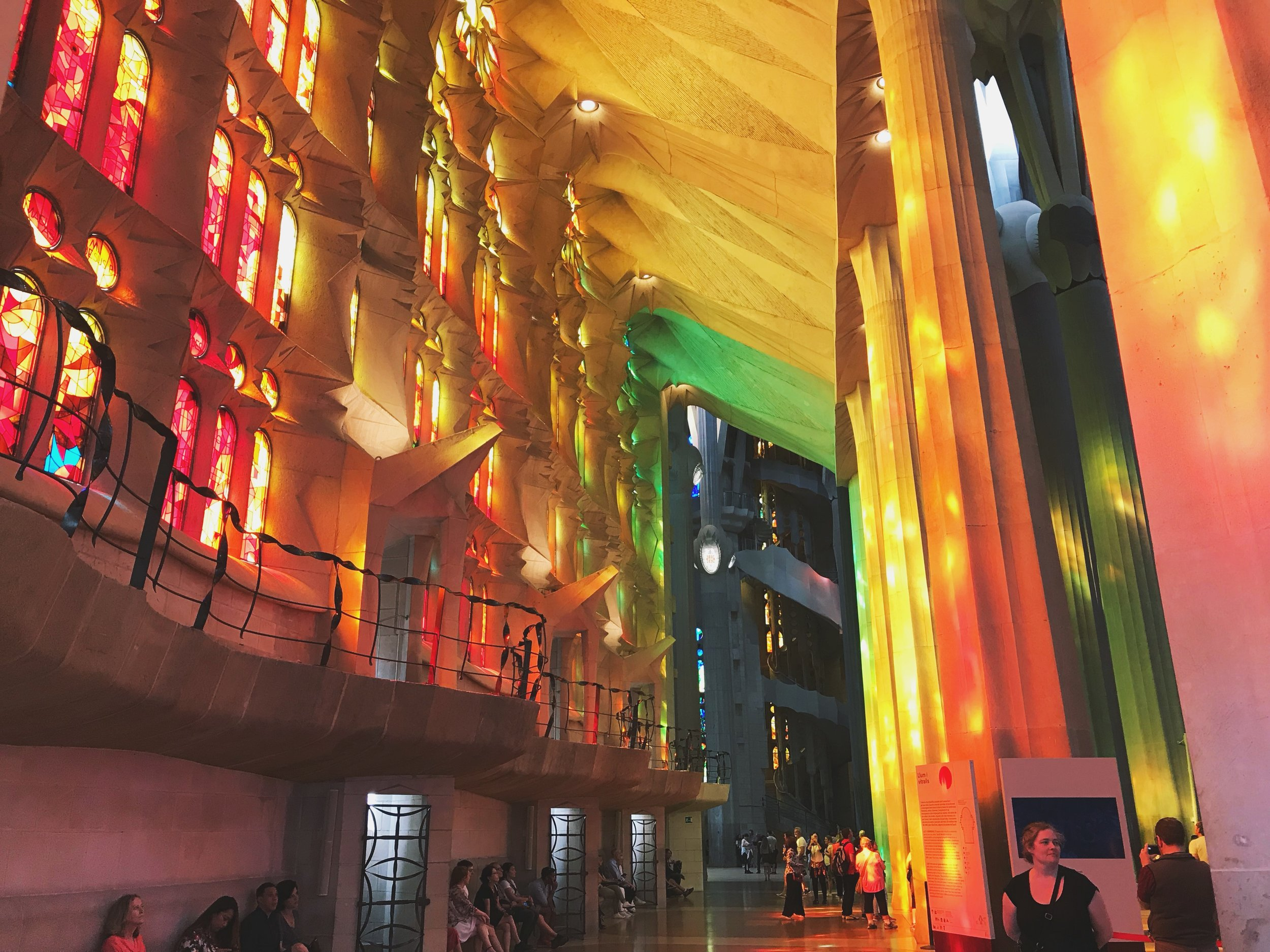 The rainbow cathedral (La Sagrada Familia in Barcelona) on my last day in Spain