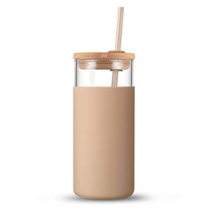 Tronco Glass Tumbler with Straw