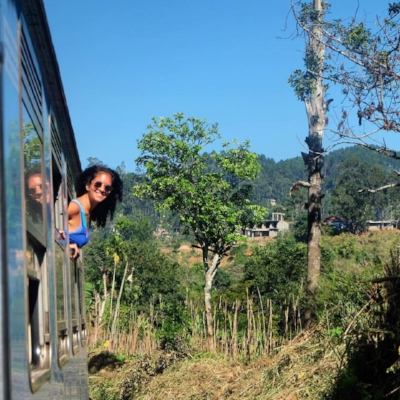 On the train through sri lankan hill country