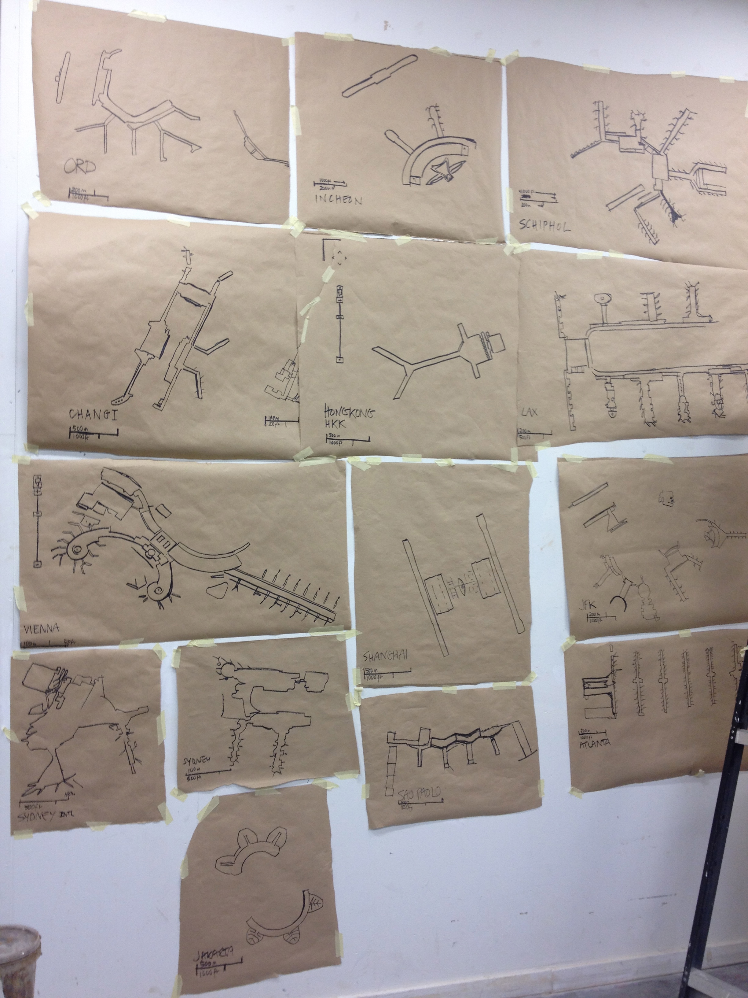 First batch of projection tracings pinned up on the wall of my EKWC studio.