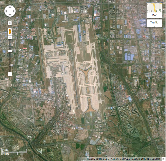 Beijing airport at 1 mile/1 kilometer scale view