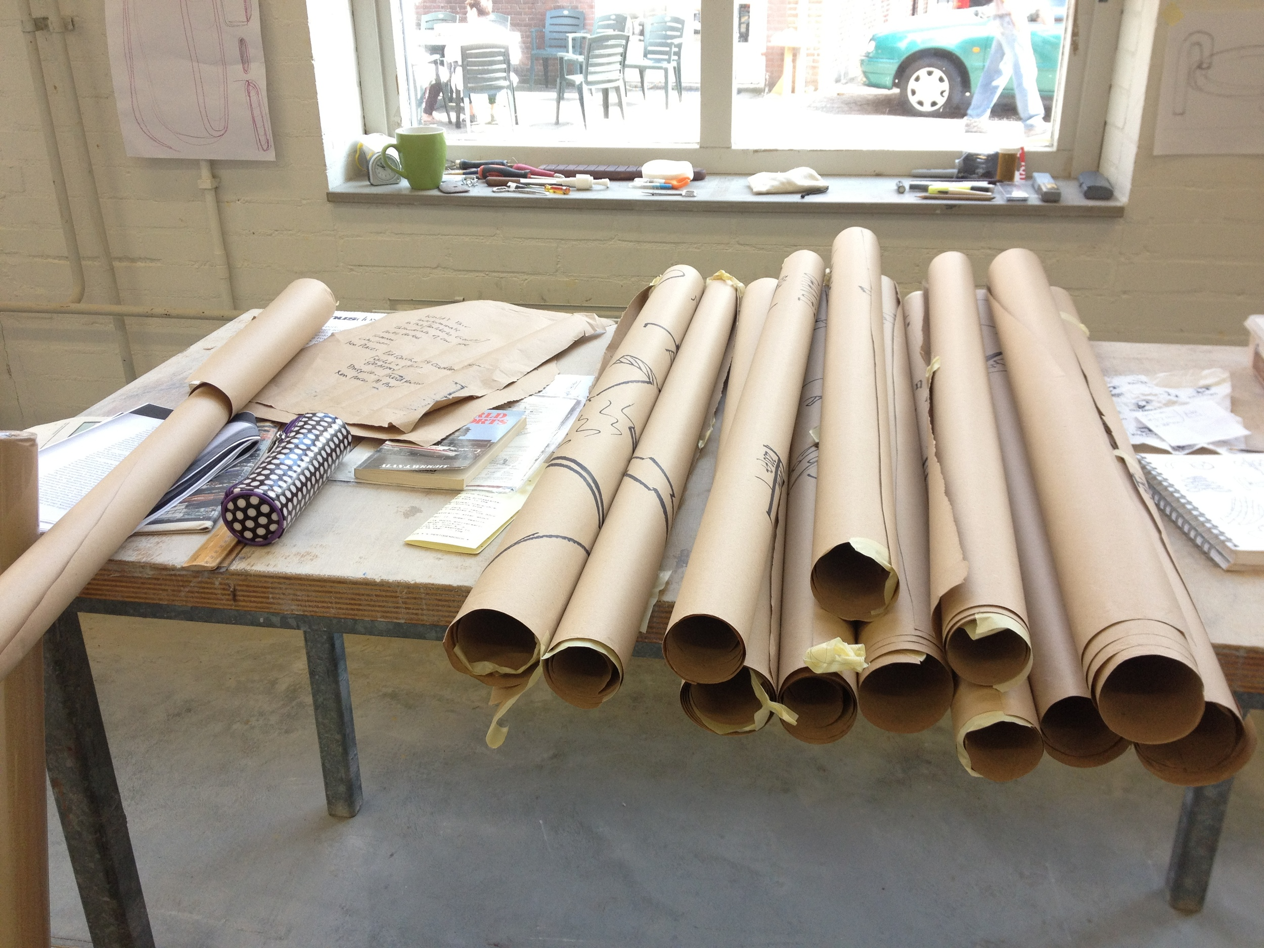 Rolls of Kraft paper drawings