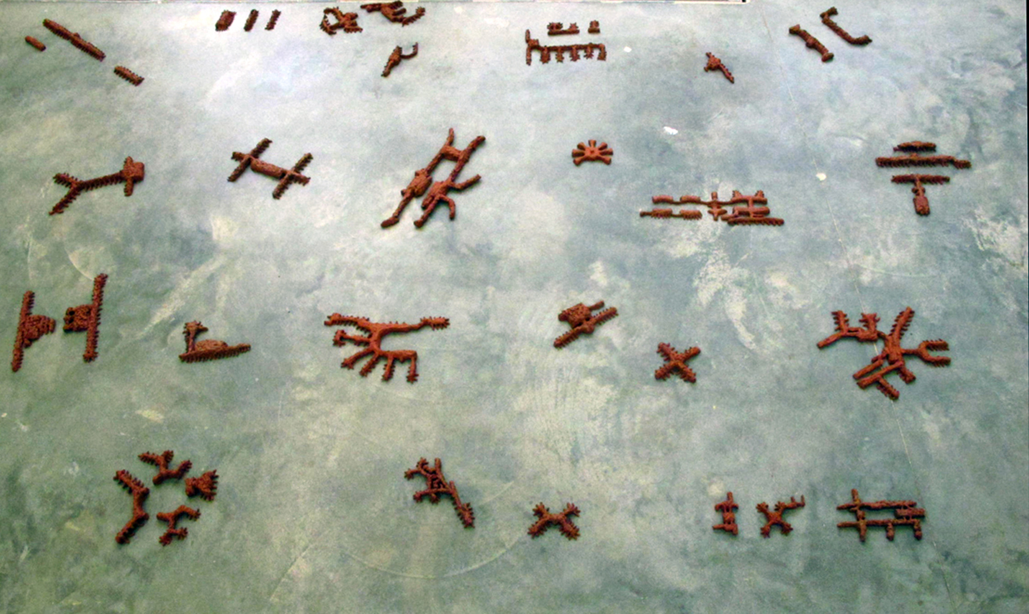 Partial view of the entire set of 30 airports — aligned to True North, and individual terminals correctly spaced — on my EKWC studio floor, September 2013