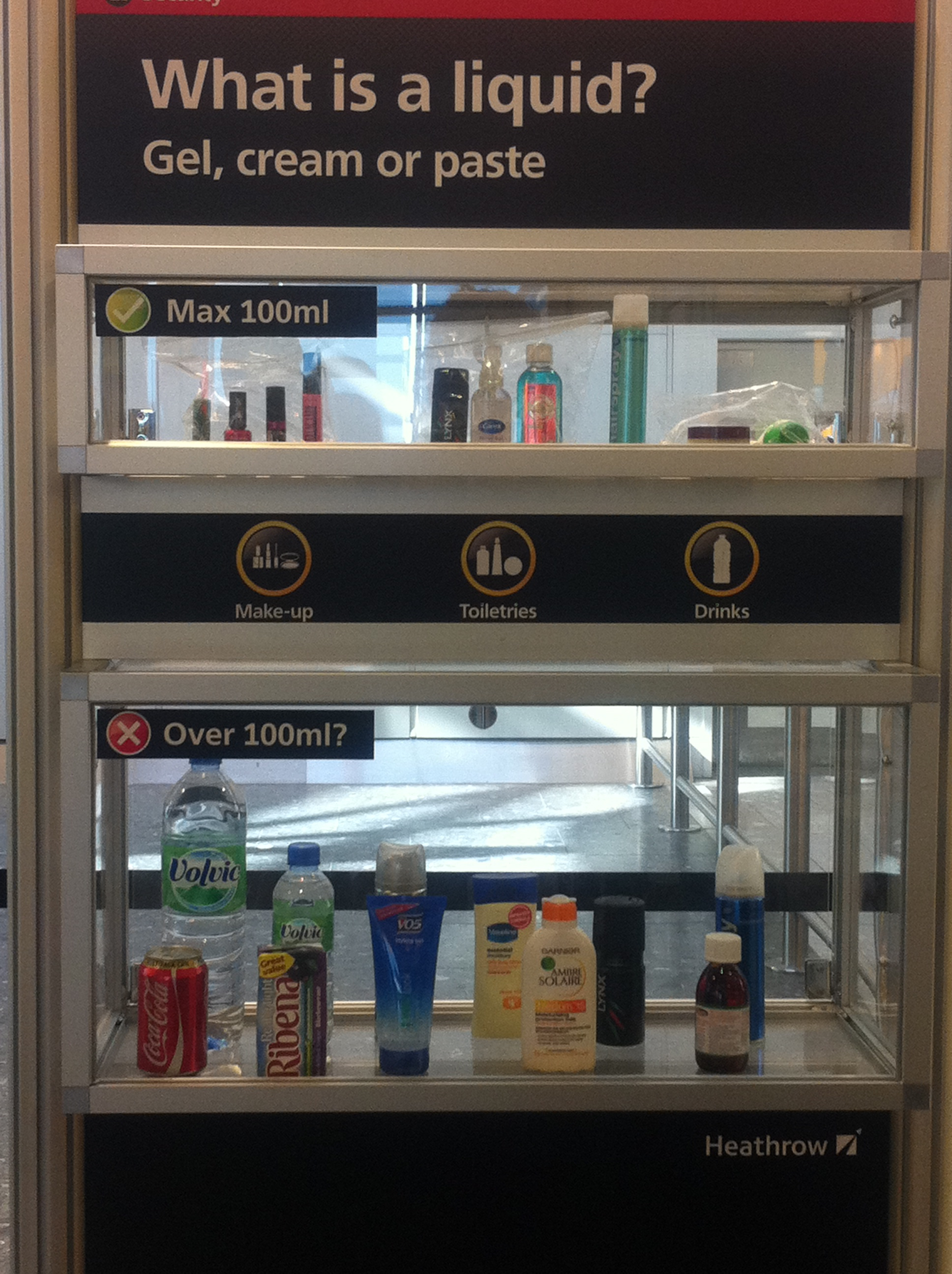 A didactic vitrine, at London Heathrow Airport. Photo: Janet Abrams