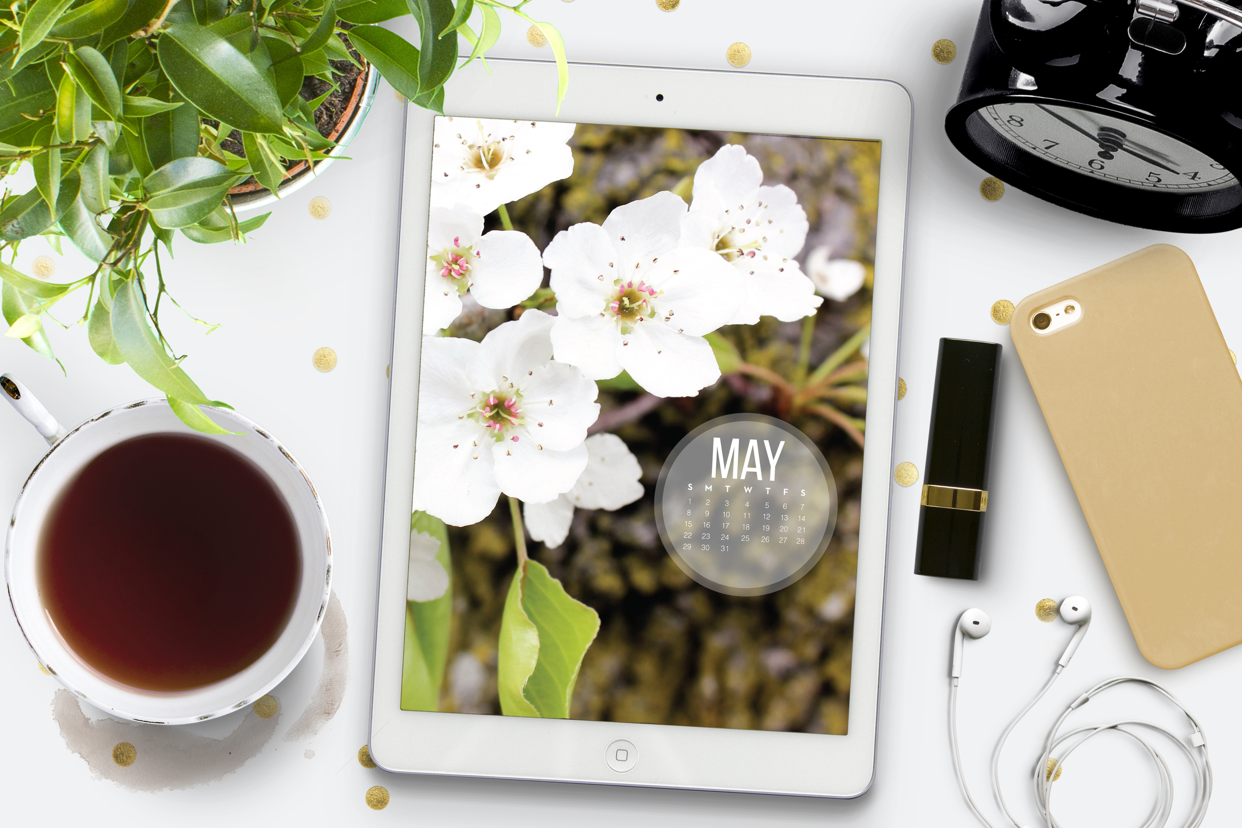 Free download for May calendar, to use as Mac, Windows, iPhone, or iPad background