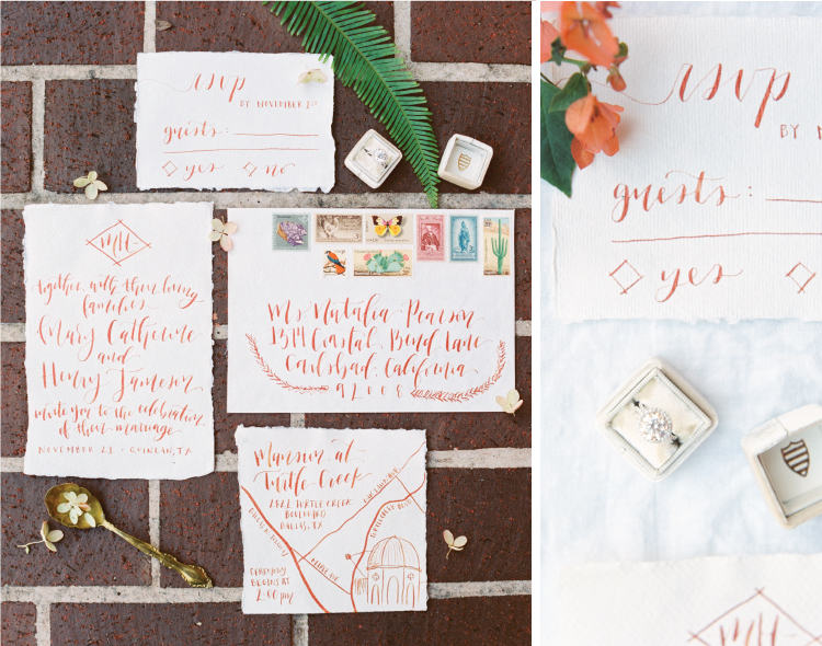 Copper ink calligraphy, torn edged paper, and a custom venue map for this wedding stationery suite.