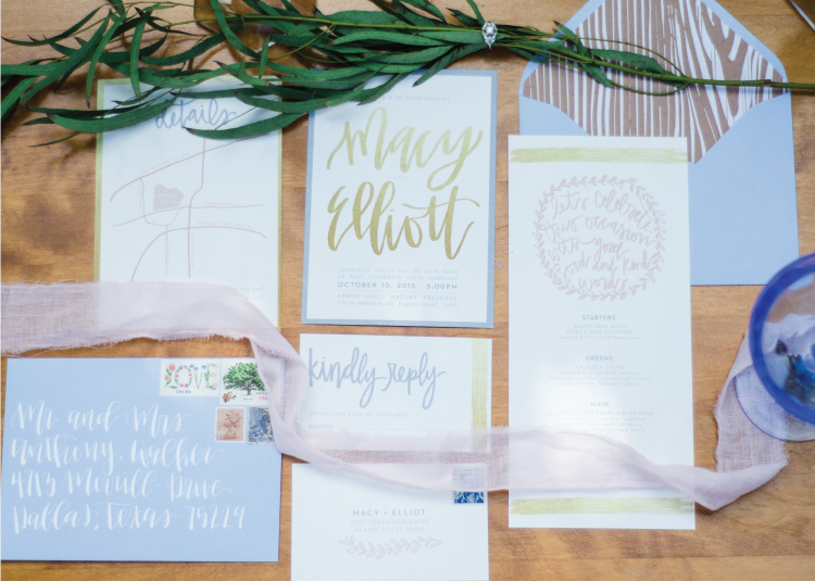 Custom Wedding invitations and calligraphy services for Arbor Hills wedding.