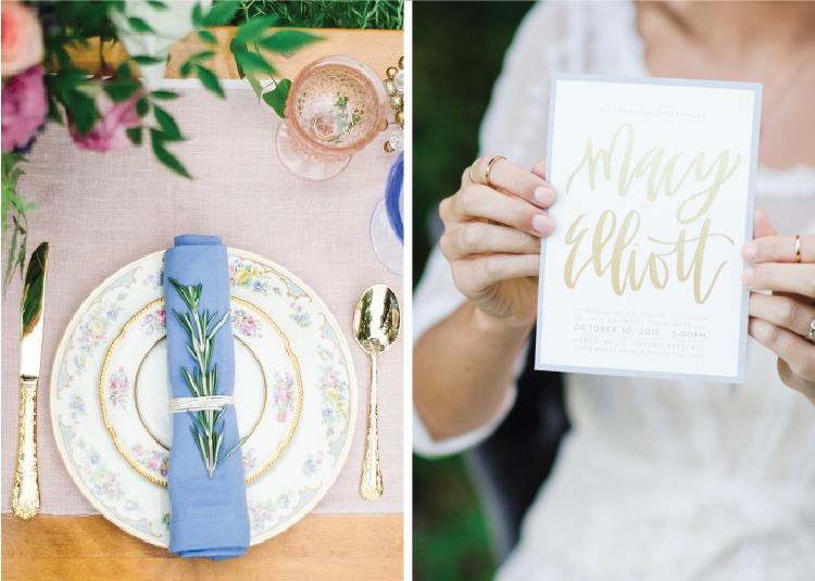Simple and modern wedding invitation design for Arbor Hills wedding.