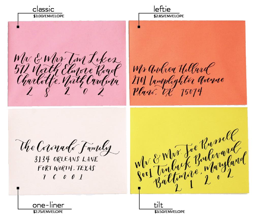 Goldie Design Co. Custom Wedding invitation calligraphy styles