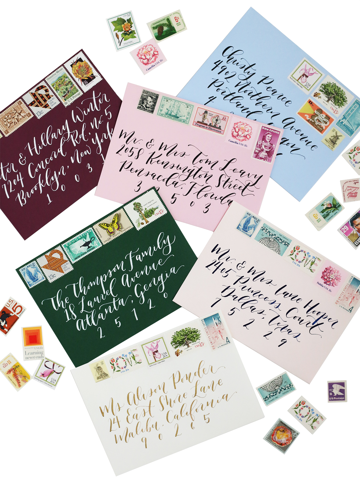 Vintage stamps are the perfect way to add a colorful and unique pop to your wedding invitations.