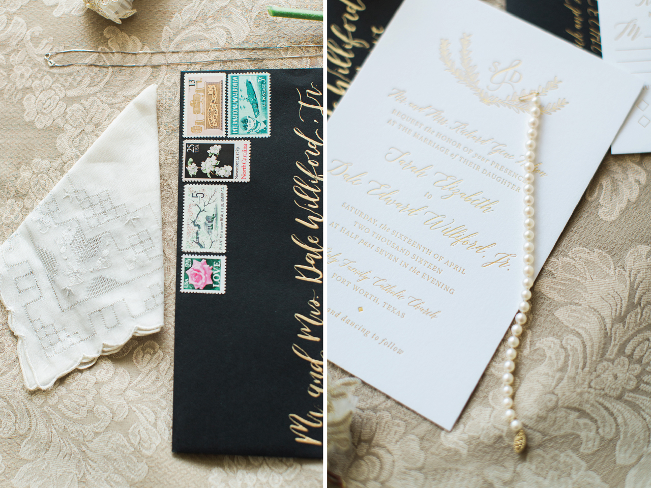 Custom black, ivory, and gold foil wedding invitations with calligraphy addressing.