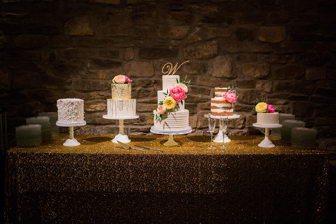 Custom wedding cake bar at Ridglea Country Club reception in Fort Worth, Texas.