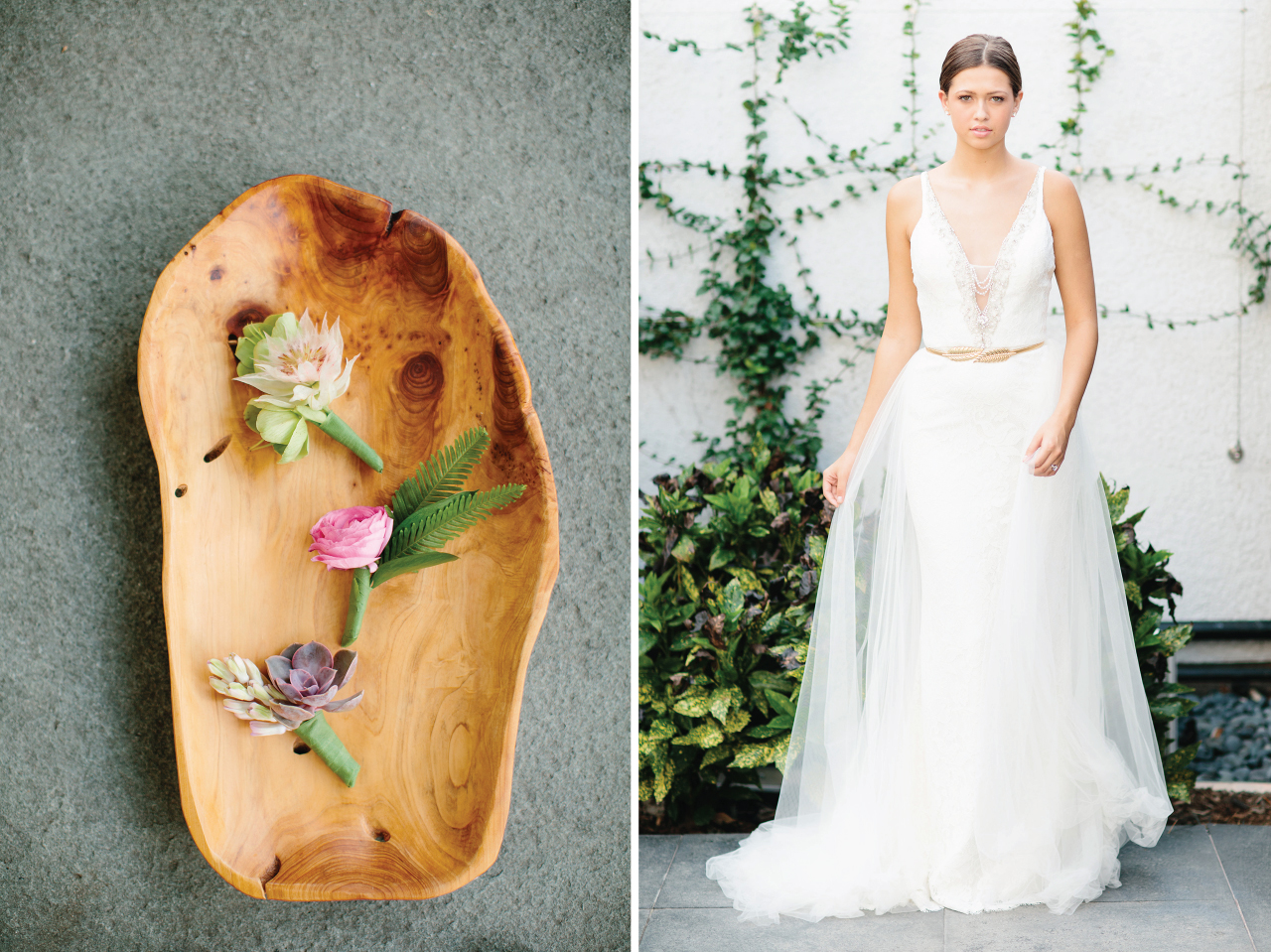 Cute little boutonnieres all different but tropical! And how gorgeous is that tulle gown?!