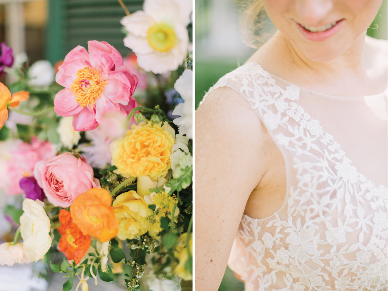 Gorgeous colorful blooms and delicate wedding gown details make for the dreamiest summer wedding.