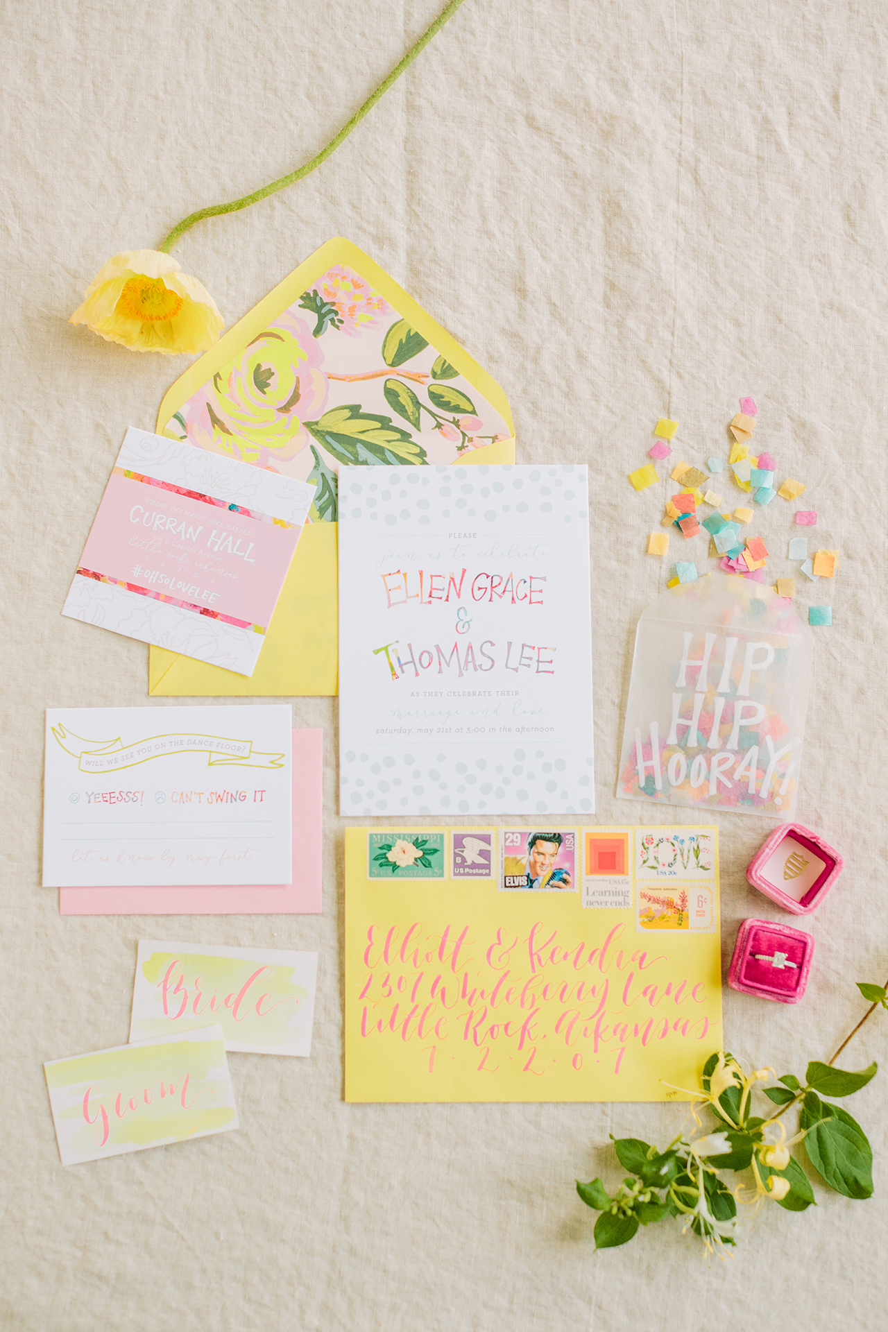 A bright, modern, and colorful wedding invitation suite by Goldie Design Co.