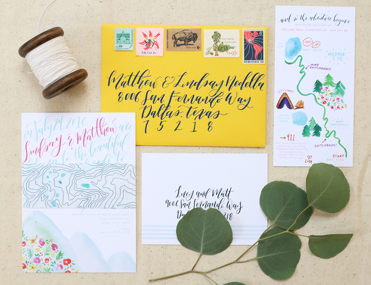 Custom watercolor wedding invitaiton set for a Colorado Ice Lake elopement!