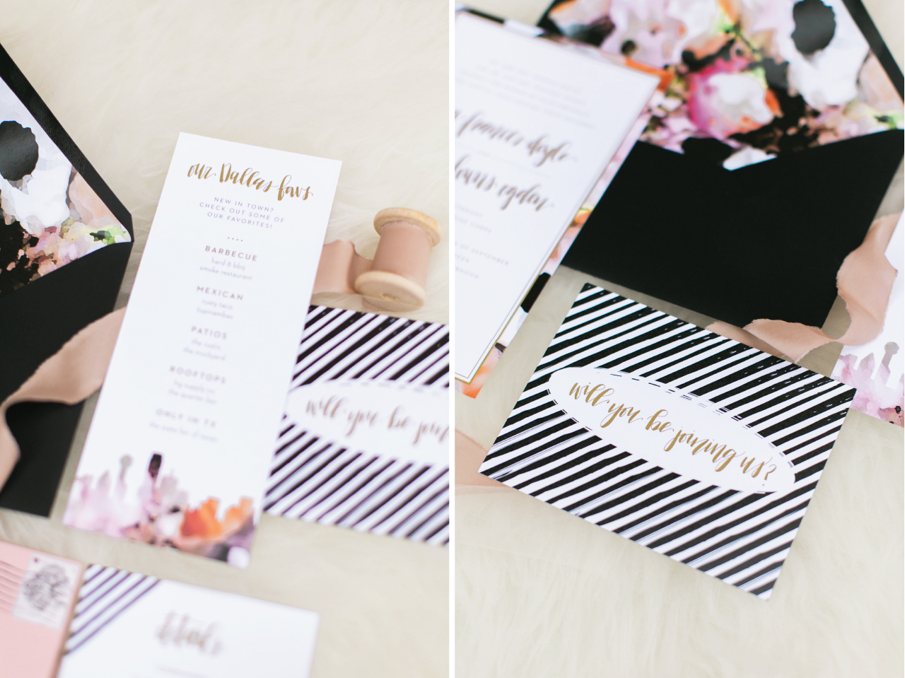 A fun way to incorporate some of the bride and grooms personality into the wedding invitation suite is to add a list of places that the bride and groom love! On ours, we included some restaurants, bars, and favorite places to go in Dallas!