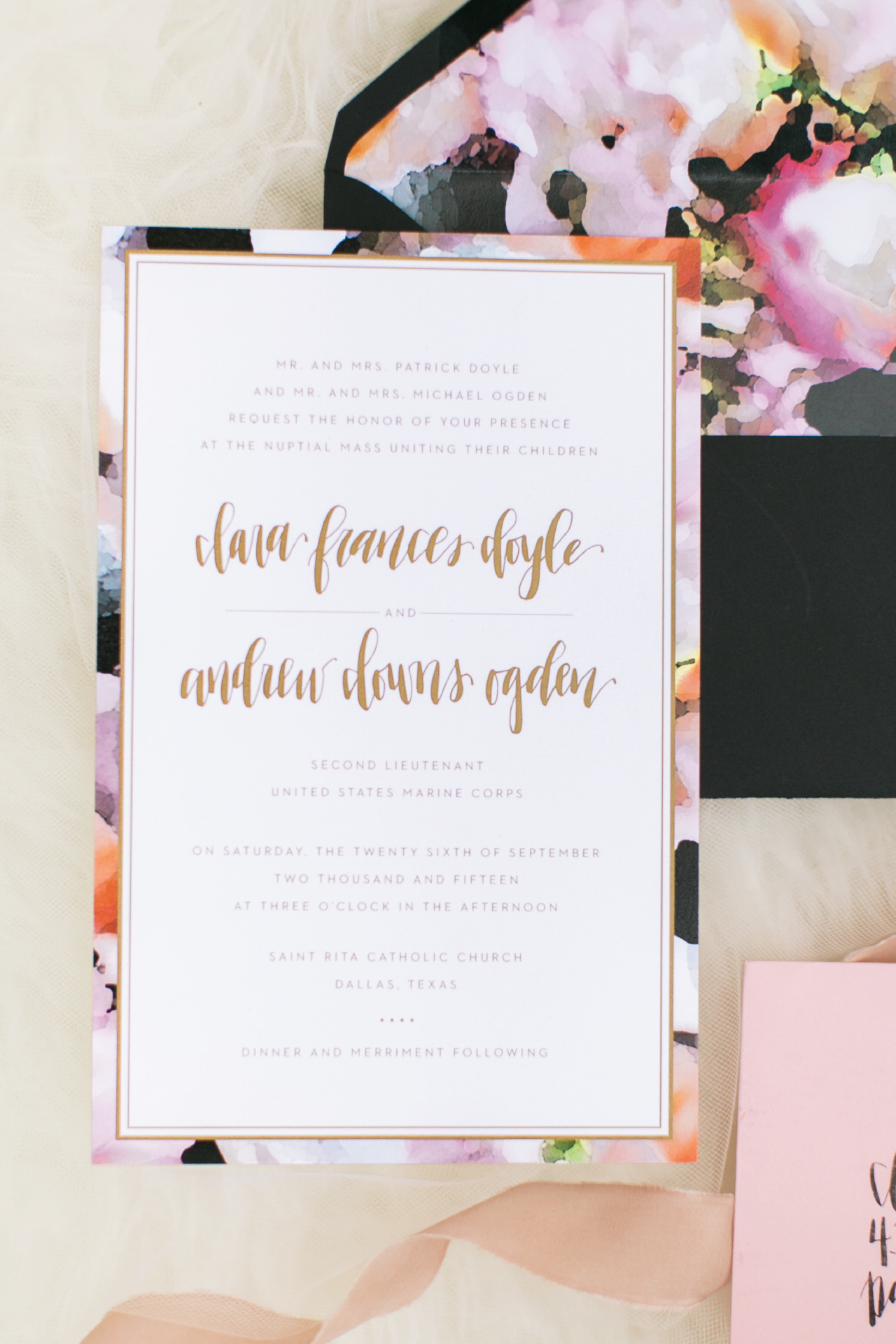 Simple gold wedding invitation with watercolor floral pattern accent as a border.