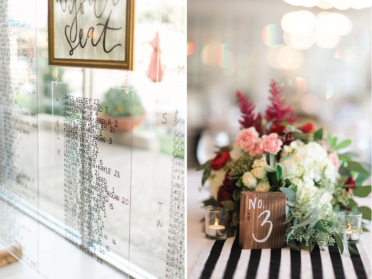 Simple wooden block table numbers; sleek and chic acrylic glass seating chart for wedding reception.