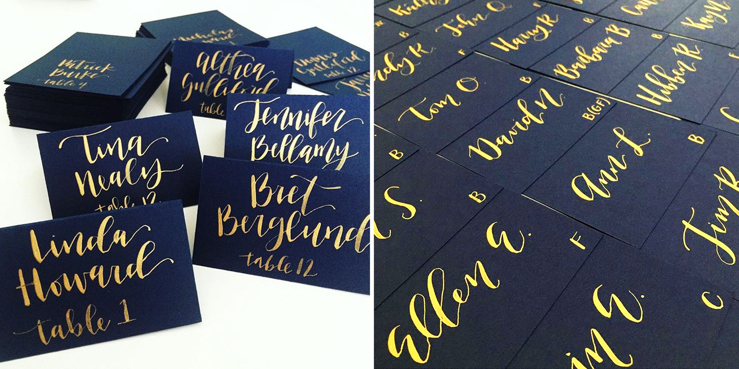 Simple navy place cards with gold calligraphy for the guests and table numbers