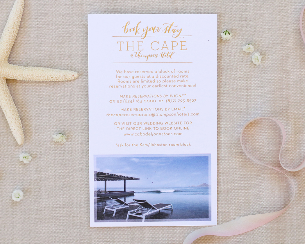 Accommodations card for destination wedding in Cabo San Lucas at the Cape hotel