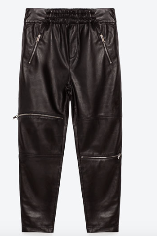 Zara Jogging Trousers With Zips- Faux Leather