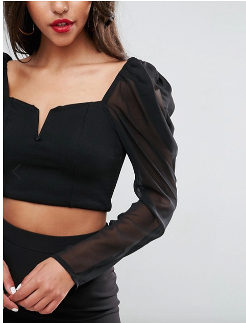 ASOS 80's Top W/ Mesh Power Sleeves