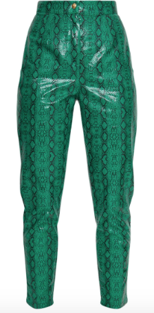Jade Green Faux Leather Snake Print Trousers