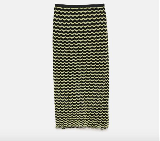 Zara Knit Skirt W/ Scalloped Trim