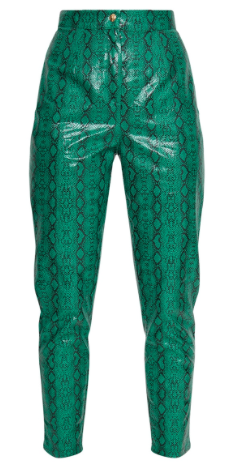 Jade Green Faux Snake Print Trouser